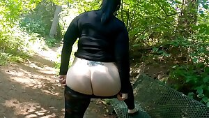 Sheer Stretch pants Nature Walk With Massive Booty Flashing
