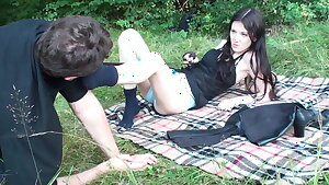 outdoor sock domination at picknick
