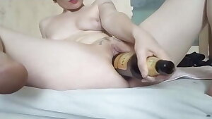 GERMAN Extraordinary MILF Claudia FUCKS HUGE Champagne BOTTLE WITH PUSSY