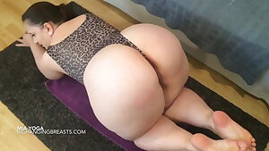 Yoga instructor with fat tits