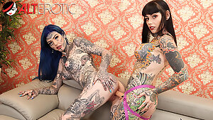 Tattooed honeys Amber Luke & Tiger Lilly play with toys