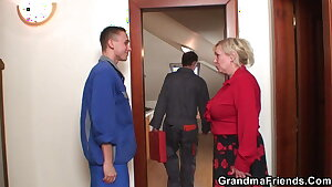 Bit tits old grandmother spreads legs for two men