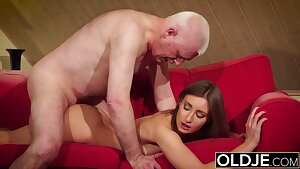 Girl gives grandpa firm erection, then fucks him