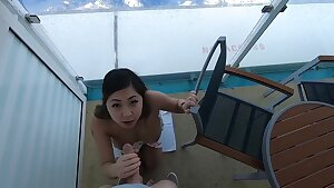 Outdoor cruise fucky-fucky on boat with elastic butt Asian inexperienced