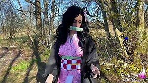 Nezuko Blowjob, Onanism and Hardcore Anal Sex - Anime Costume play