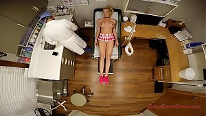 Big boobed blonde Bella Ink examined poked and prodded by the doctor, coerced to do exercises, get her pussy probed, spread broad in the stirrups, mandatory exam - Tampa University Physical - Part 3 of 9 - GirlsGoneGyno.com - Medical Clinic Fetish