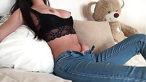 Fit Teenager Finger-tickling her Nub in Tight Jeans with Anal Plug
