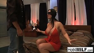 Eyes covered brunette gets surprised with a threesome