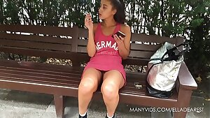 Smoking Teen Public Upskirt No Panties