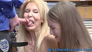 Milf and nubile sucking mall cop