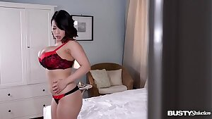 Busty seduction with Japanese babe Tigerr Benson titty playing with her 36DD's