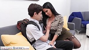 Naughty America Diamond Kitten bangs student to keep his mouth shut
