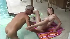 Naked dad and daughter-in-law take a swim