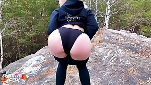 Ash-blonde Blowjob Dick and Hard Pussy Fuck in the Forest