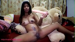 16 week pregnant thai teen heather deep dido cream-colored splatter alone in the living apartment