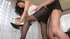 Chinese dame gets fucked in leather skirt