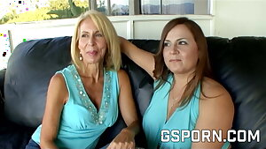 Homemade mature lesbian mummies with hairy pussy have wet fuck-fest