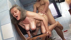 busty 83 year elderly mom gets harsh boning