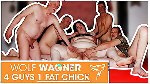 Swinger orgy! Giant mega-bitch enjoys 3 hard cocks! WolfWagner.com