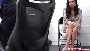 Big bra-stuffers brunette MILF shoplifter fucked in the security gua